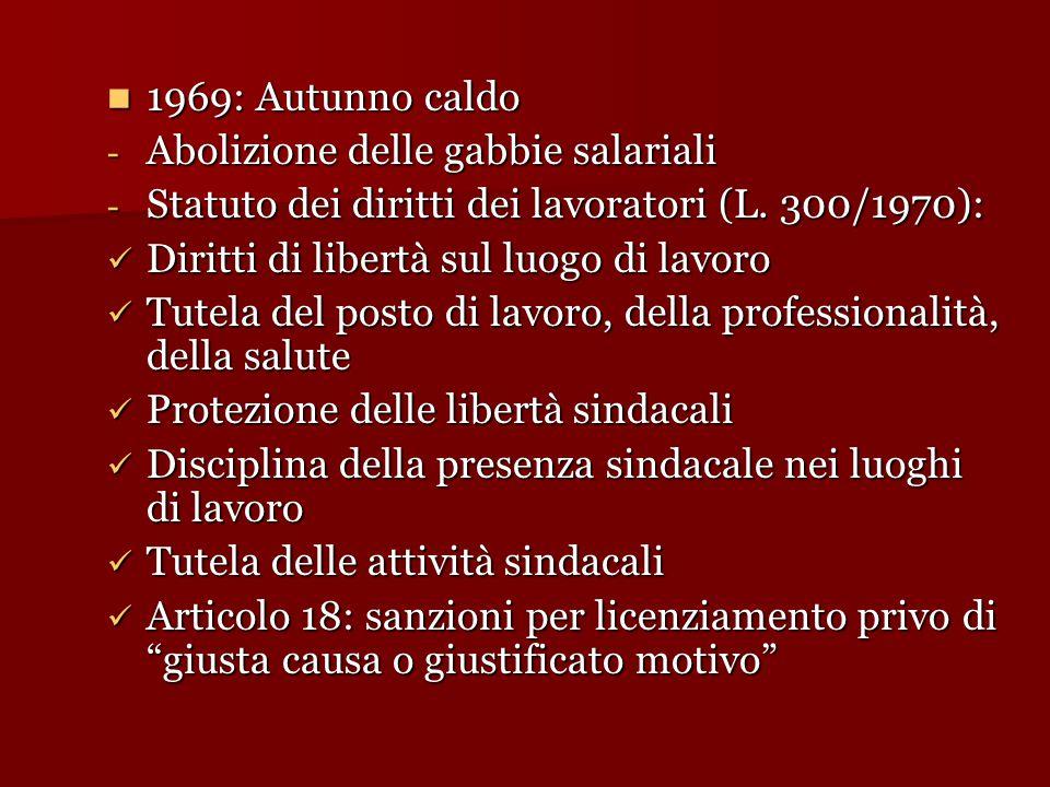 1969: Autunno caldo 1969: Autunno caldo - Abolizione delle gabbie salariali - Statuto dei diritti dei lavoratori (L. 300/1970): Diritti di libertà sul