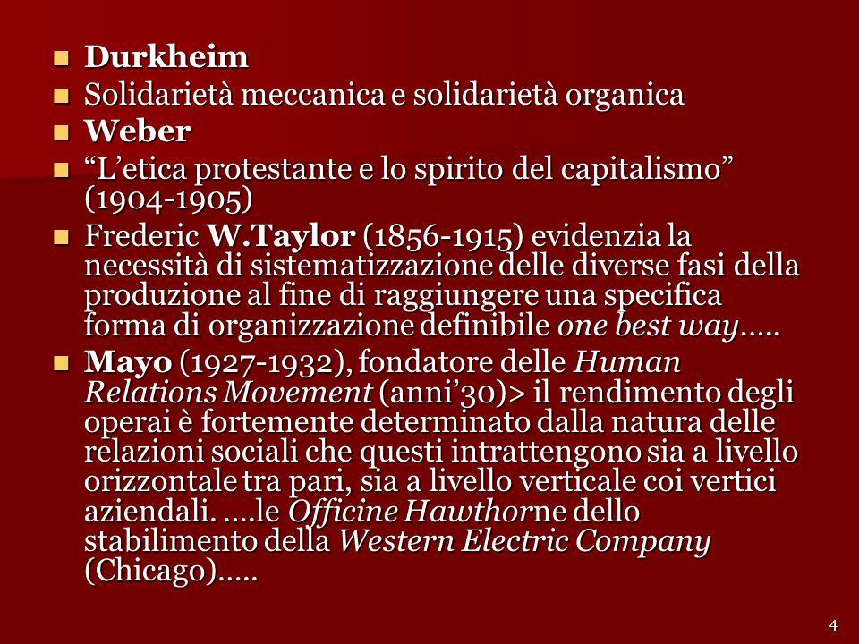 """Durkheim Durkheim Solidarietà meccanica e solidarietà organica Solidarietà meccanica e solidarietà organica Weber Weber """"L'etica protestante e lo spir"""