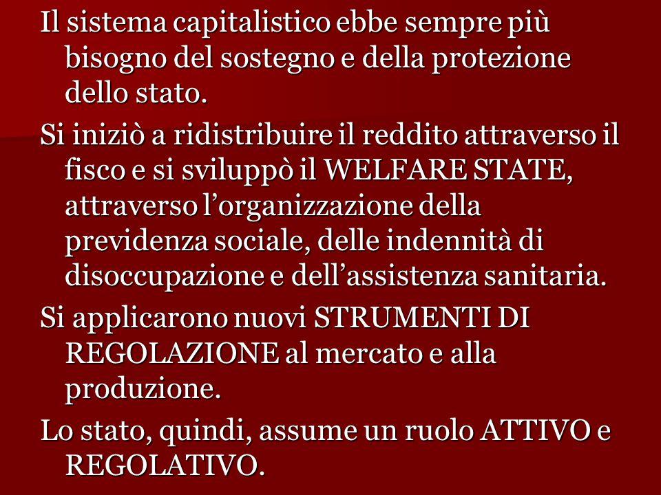 Il sistema capitalistico ebbe sempre più bisogno del sostegno e della protezione dello stato. Si iniziò a ridistribuire il reddito attraverso il fisco
