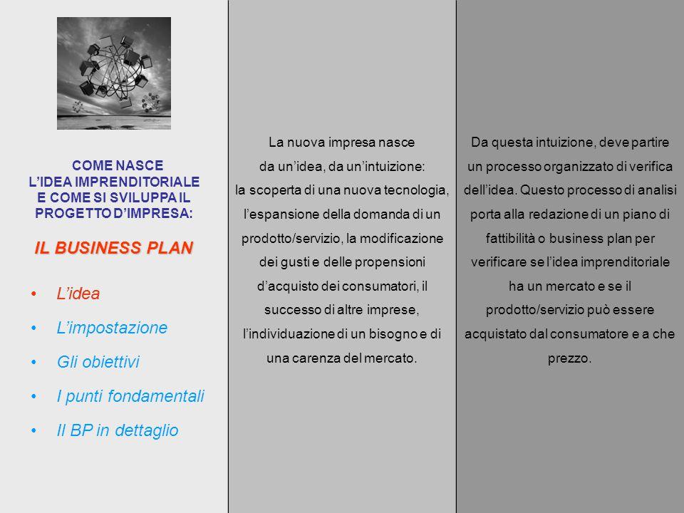 IL BUSINESS PLAN COME NASCE L'IDEA IMPRENDITORIALE E COME SI SVILUPPA IL PROGETTO D'IMPRESA: La nuova impresa nasce da un'idea, da un'intuizione: la scoperta di una nuova tecnologia, l'espansione della domanda di un prodotto/servizio, la modificazione dei gusti e delle propensioni d'acquisto dei consumatori, il successo di altre imprese, l'individuazione di un bisogno e di una carenza del mercato.