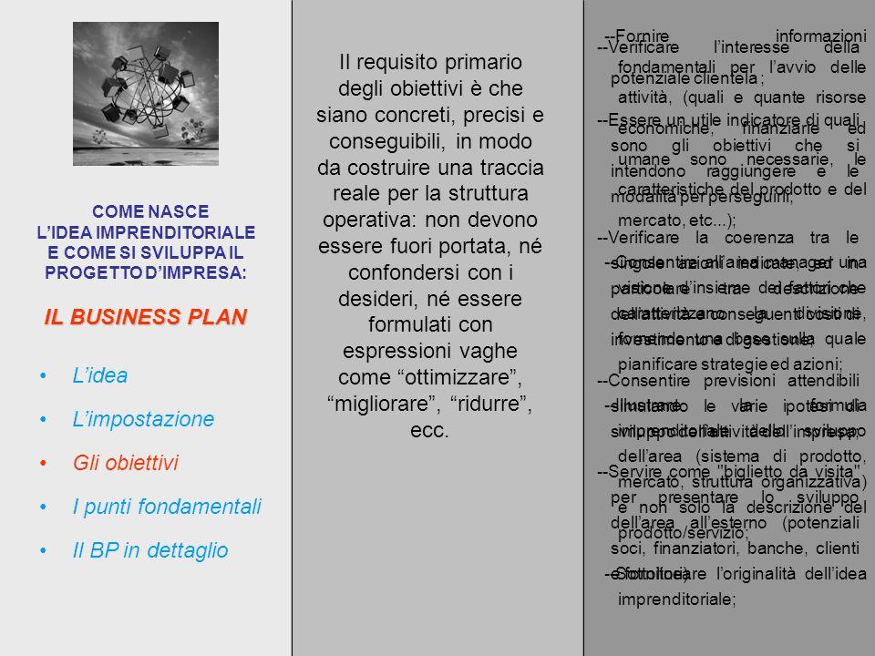 IL BUSINESS PLAN COME NASCE L'IDEA IMPRENDITORIALE E COME SI SVILUPPA IL PROGETTO D'IMPRESA: L'impostazione L'idea Gli obiettivi I punti fondamentali Il BP in dettaglio --Fornire informazioni fondamentali per l'avvio delle attività, (quali e quante risorse economiche, finanziarie ed umane sono necessarie, le caratteristiche del prodotto e del mercato, etc...); --Consentire all'area manager una visione d'insieme dei fattori che caratterizzano la divisione, fornendo una base sulla quale pianificare strategie ed azioni; --Illustrare la formula imprenditoriale dello sviluppo dell'area (sistema di prodotto, mercato, struttura organizzativa) e non solo la descrizione del prodotto/servizio; --Sottolineare l'originalità dell'idea imprenditoriale; --Verificare l'interesse della potenziale clientela ; --Essere un utile indicatore di quali sono gli obiettivi che si intendono raggiungere e le modalità per perseguirli; --Verificare la coerenza tra le singole azioni indicate, ed in particolare tra descrizione dell'attività e conseguenti costi di investimento e di gestione; --Consentire previsioni attendibili simulando le varie ipotesi di sviluppo dell'attività dell'impresa; --Servire come biglietto da visita per presentare lo sviluppo dell'area all'esterno (potenziali soci, finanziatori, banche, clienti e fornitori).