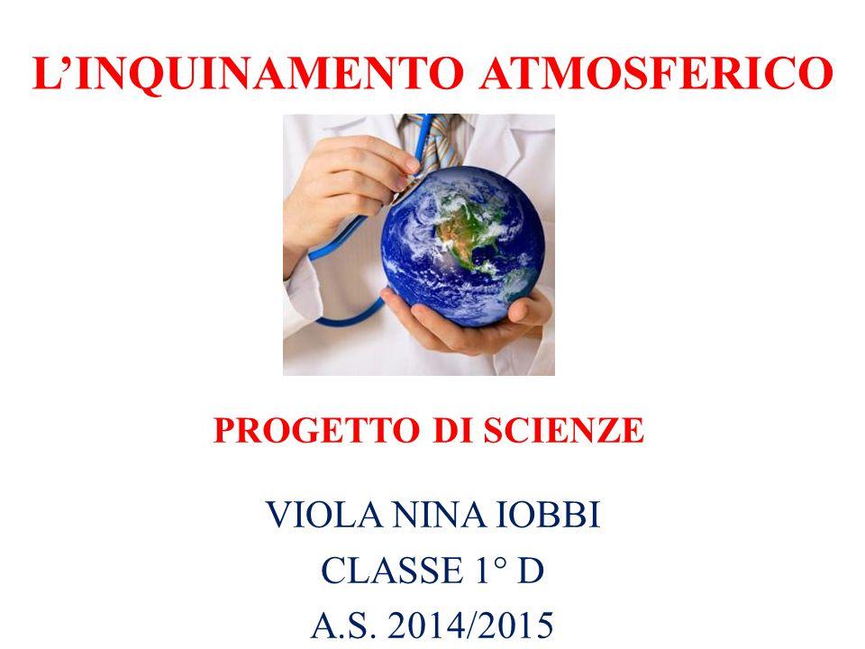 L'INQUINAMENTO ATMOSFERICO VIOLA NINA IOBBI CLASSE 1° D A.S. 2014/2015 PROGETTO DI SCIENZE