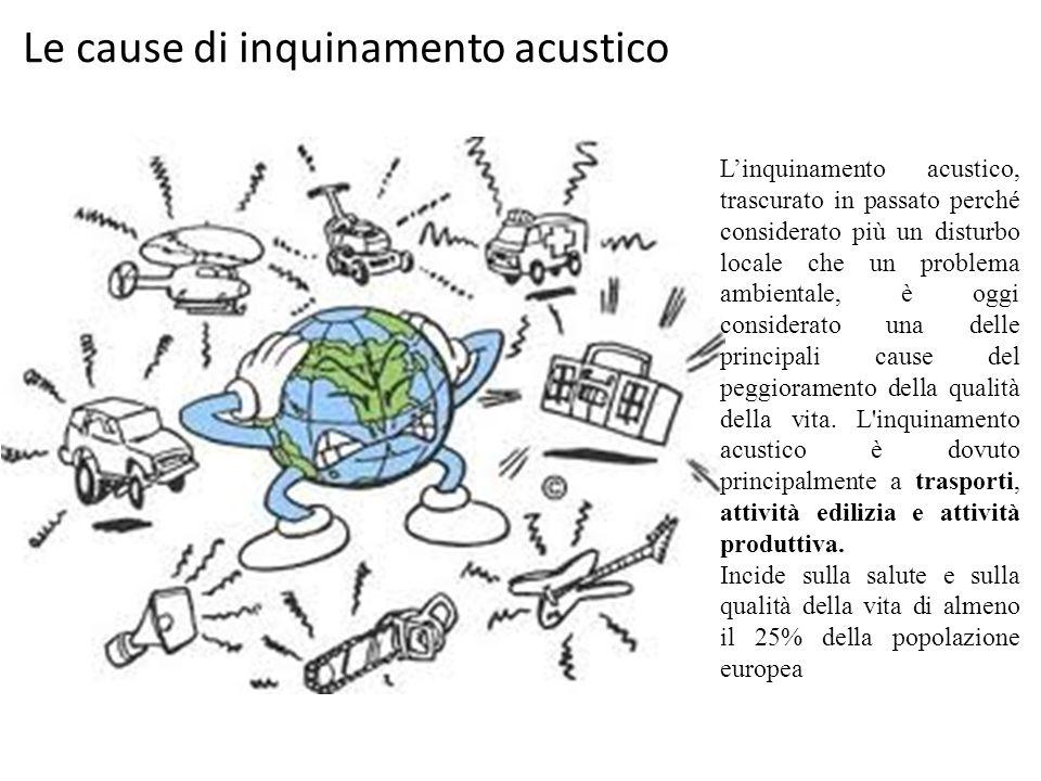 Le cause di inquinamento acustico L'inquinamento acustico, trascurato in passato perché considerato più un disturbo locale che un problema ambientale,