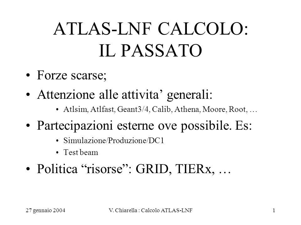 27 gennaio 2004V. Chiarella : Calcolo ATLAS-LNF1 ATLAS-LNF CALCOLO: IL PASSATO Forze scarse; Attenzione alle attivita' generali: Atlsim, Atlfast, Gean