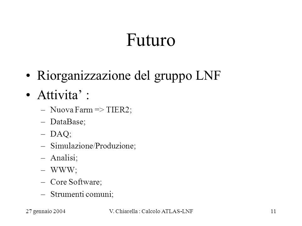 27 gennaio 2004V. Chiarella : Calcolo ATLAS-LNF11 Futuro Riorganizzazione del gruppo LNF Attivita' : –Nuova Farm => TIER2; –DataBase; –DAQ; –Simulazio
