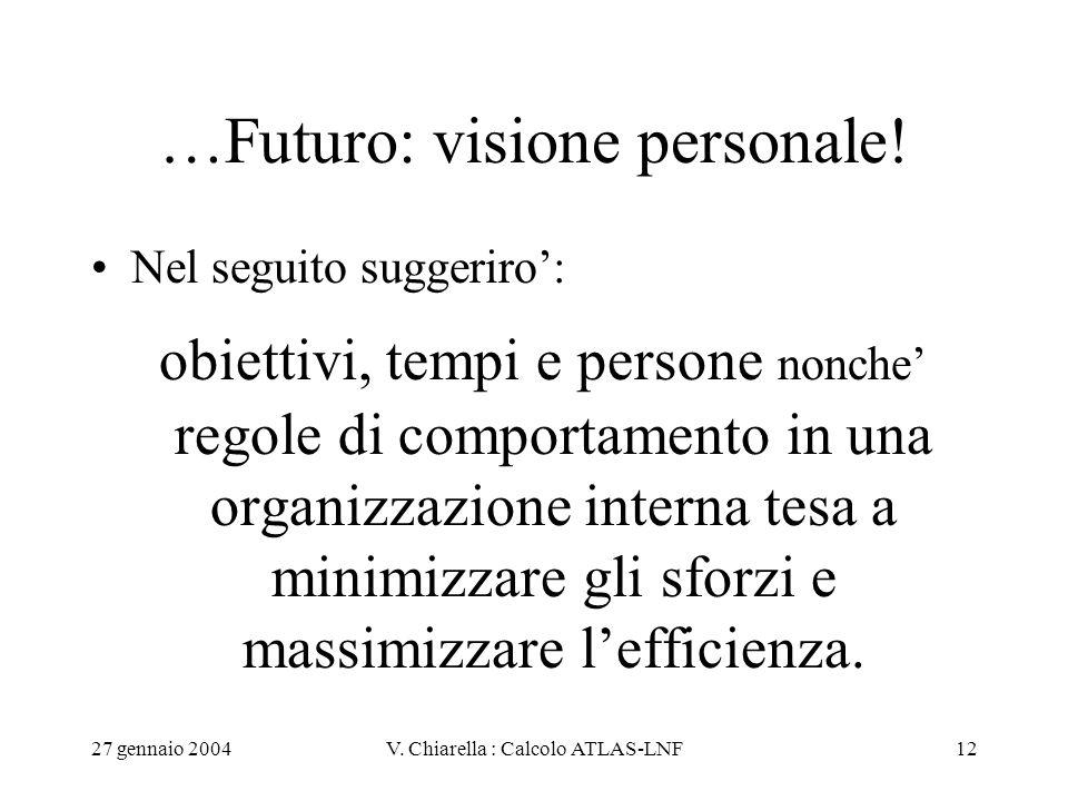 27 gennaio 2004V. Chiarella : Calcolo ATLAS-LNF12 …Futuro: visione personale! Nel seguito suggeriro': obiettivi, tempi e persone nonche' regole di com