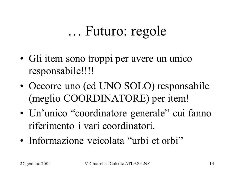 27 gennaio 2004V. Chiarella : Calcolo ATLAS-LNF14 … Futuro: regole Gli item sono troppi per avere un unico responsabile!!!! Occorre uno (ed UNO SOLO)