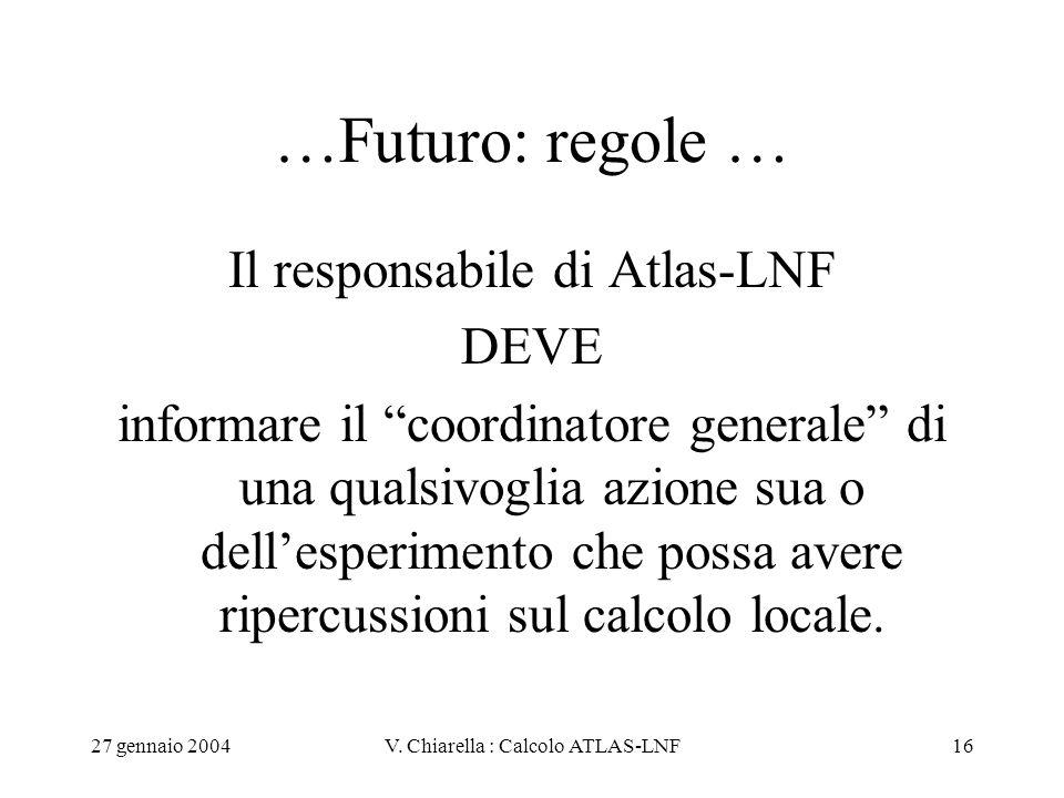 """27 gennaio 2004V. Chiarella : Calcolo ATLAS-LNF16 …Futuro: regole … Il responsabile di Atlas-LNF DEVE informare il """"coordinatore generale"""" di una qual"""