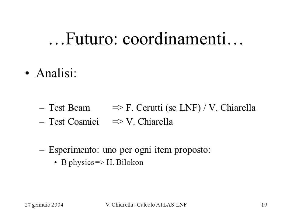 27 gennaio 2004V. Chiarella : Calcolo ATLAS-LNF19 …Futuro: coordinamenti… Analisi: –Test Beam => F. Cerutti (se LNF) / V. Chiarella –Test Cosmici=> V.