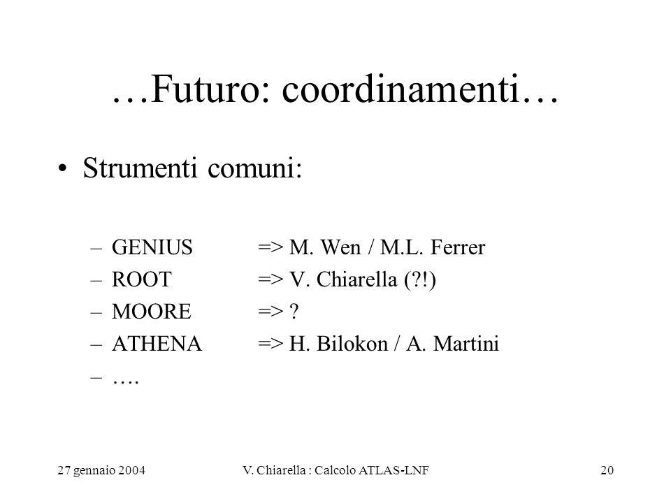 27 gennaio 2004V. Chiarella : Calcolo ATLAS-LNF20 …Futuro: coordinamenti… Strumenti comuni: –GENIUS => M. Wen / M.L. Ferrer –ROOT=> V. Chiarella (?!)