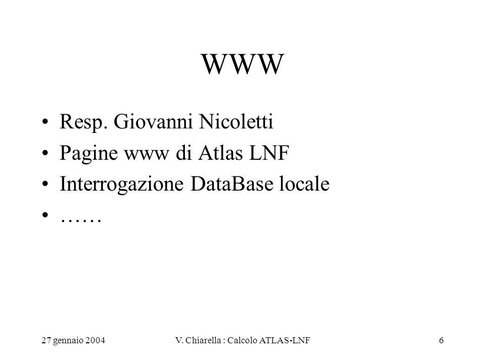 27 gennaio 2004V. Chiarella : Calcolo ATLAS-LNF6 WWW Resp. Giovanni Nicoletti Pagine www di Atlas LNF Interrogazione DataBase locale ……