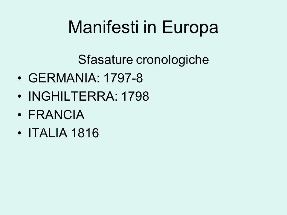 Manifesti in Europa Sfasature cronologiche GERMANIA: 1797-8 INGHILTERRA: 1798 FRANCIA ITALIA 1816