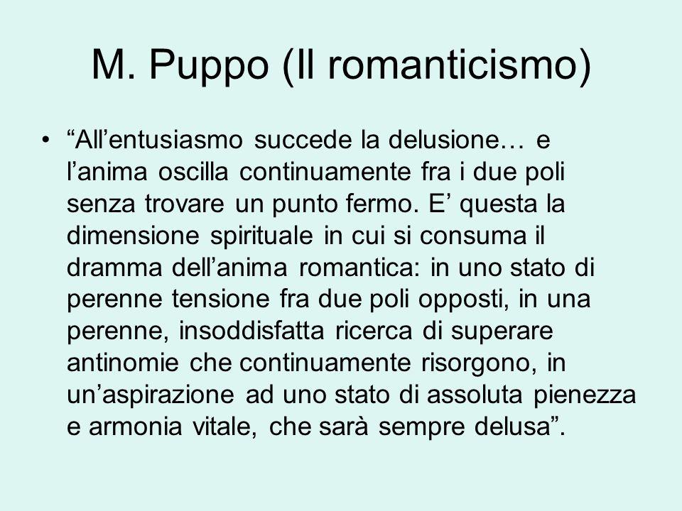 """M. Puppo (Il romanticismo) """"All'entusiasmo succede la delusione… e l'anima oscilla continuamente fra i due poli senza trovare un punto fermo. E' quest"""