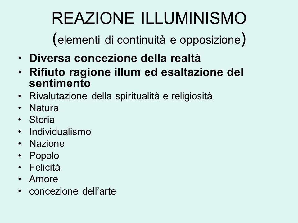 REAZIONE ILLUMINISMO ( elementi di continuità e opposizione ) Diversa concezione della realtà Rifiuto ragione illum ed esaltazione del sentimento Riva