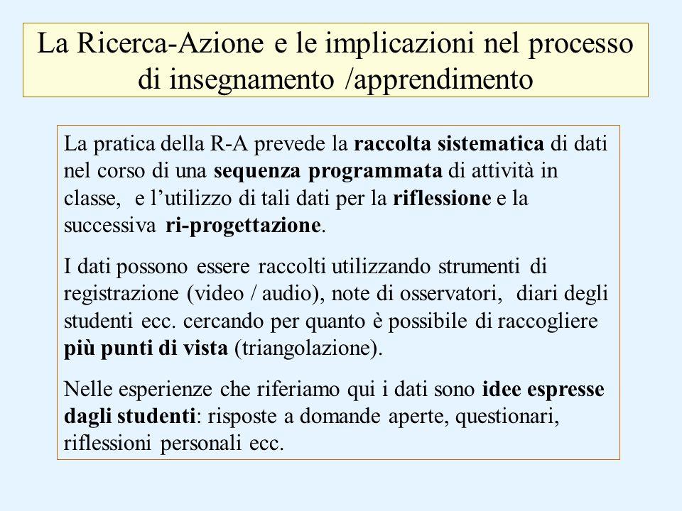 La Ricerca-Azione e le implicazioni nel processo di insegnamento /apprendimento La pratica della R-A prevede la raccolta sistematica di dati nel corso