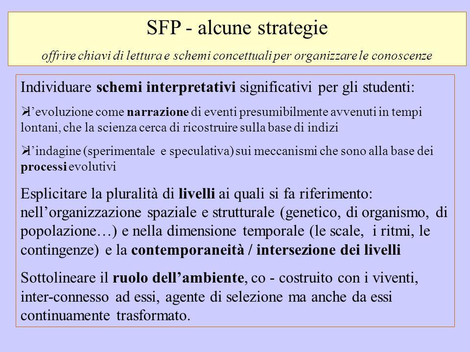 SFP - alcune strategie offrire chiavi di lettura e schemi concettuali per organizzare le conoscenze Individuare schemi interpretativi significativi pe