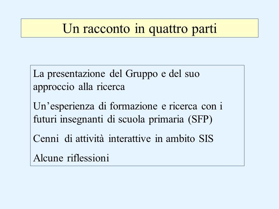 Un racconto in quattro parti La presentazione del Gruppo e del suo approccio alla ricerca Un'esperienza di formazione e ricerca con i futuri insegnant