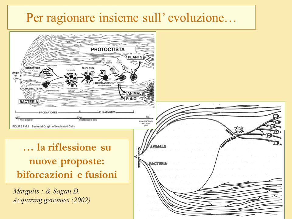 Per ragionare insieme sull' evoluzione… Margulis : & Sagan D. Acquiring genomes (2002) … la riflessione su nuove proposte: biforcazioni e fusioni