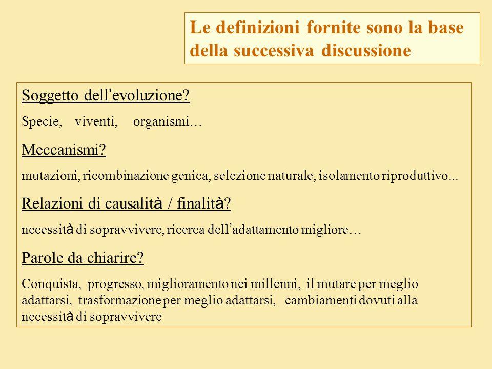 Soggetto dell ' evoluzione? Specie, viventi, organismi … Meccanismi? mutazioni, ricombinazione genica, selezione naturale, isolamento riproduttivo...