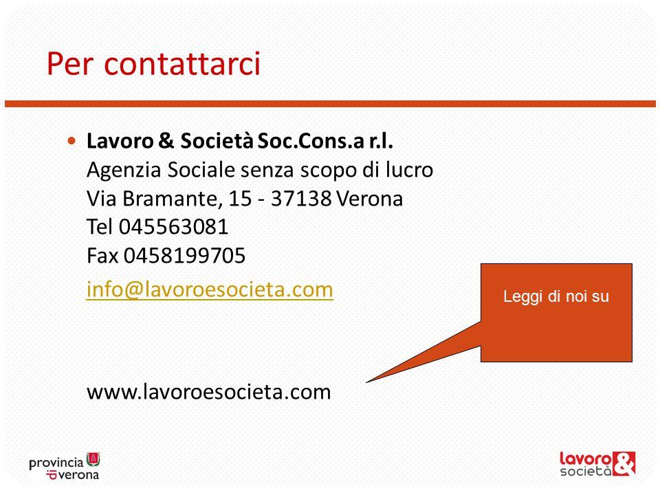 Per contattarci Lavoro & Società Soc.Cons.a r.l.