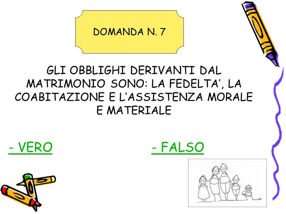 GLI OBBLIGHI DERIVANTI DAL MATRIMONIO SONO: LA FEDELTA', LA COABITAZIONE E L'ASSISTENZA MORALE E MATERIALE - VERO- FALSO DOMANDA N.