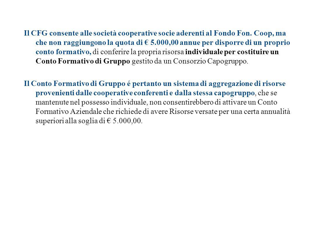 Cos'è un Conto Formativo di Gruppo? Il CFG consente alle società cooperative socie aderenti al Fondo Fon. Coop, ma che non raggiungono la quota di € 5