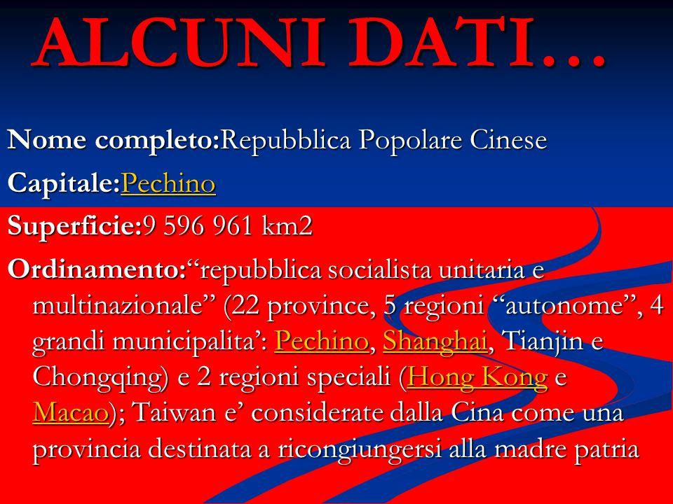 """ALCUNI DATI… Nome completo:Repubblica Popolare Cinese Capitale:Pechino Pechino Superficie:9 596 961 km2 Ordinamento:""""repubblica socialista unitaria e"""
