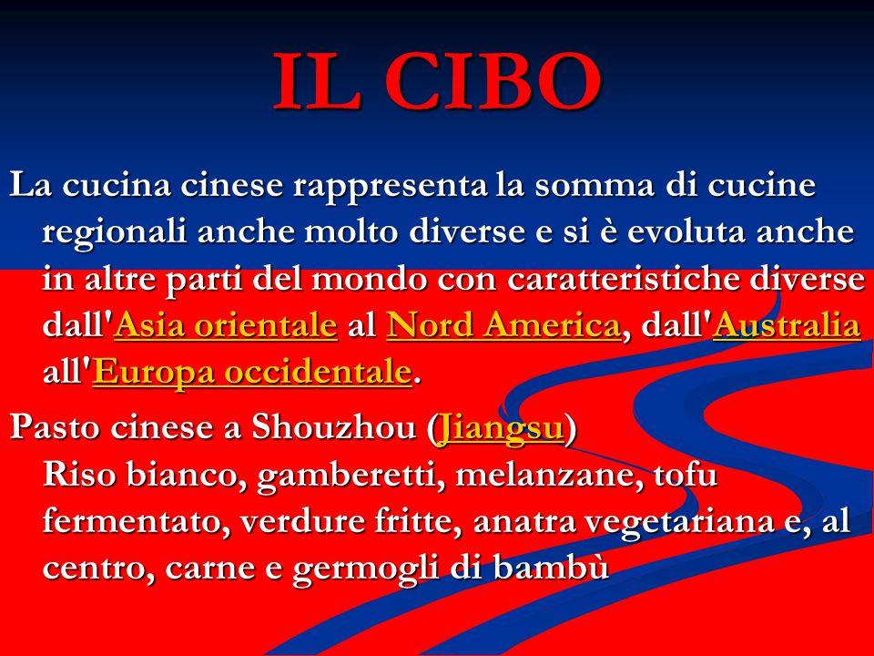 IL CIBO La cucina cinese rappresenta la somma di cucine regionali anche molto diverse e si è evoluta anche in altre parti del mondo con caratteristich