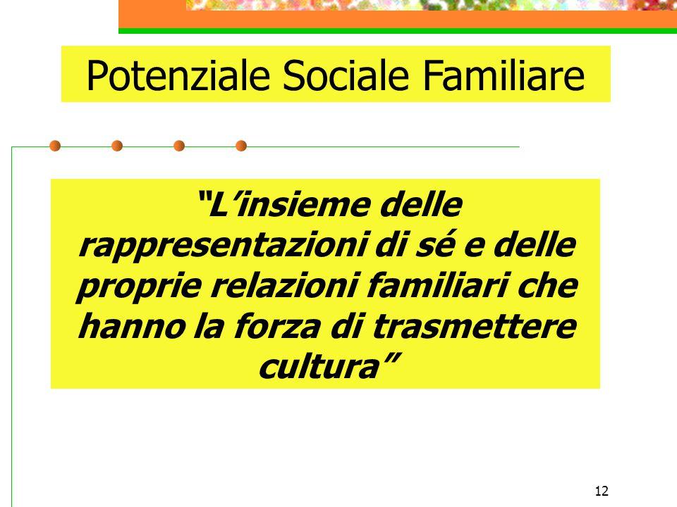 12 Potenziale Sociale Familiare L'insieme delle rappresentazioni di sé e delle proprie relazioni familiari che hanno la forza di trasmettere cultura