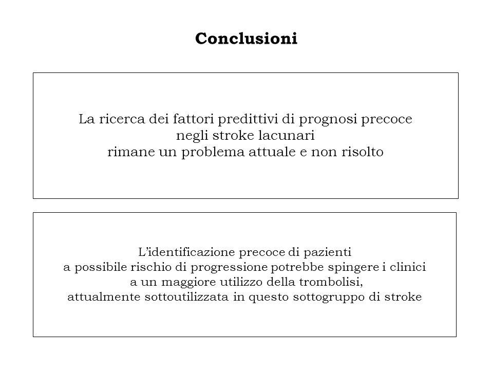 Conclusioni La ricerca dei fattori predittivi di prognosi precoce negli stroke lacunari rimane un problema attuale e non risolto L'identificazione pre