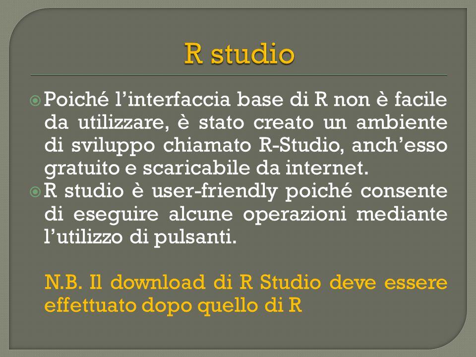  Poiché l'interfaccia base di R non è facile da utilizzare, è stato creato un ambiente di sviluppo chiamato R-Studio, anch'esso gratuito e scaricabile da internet.