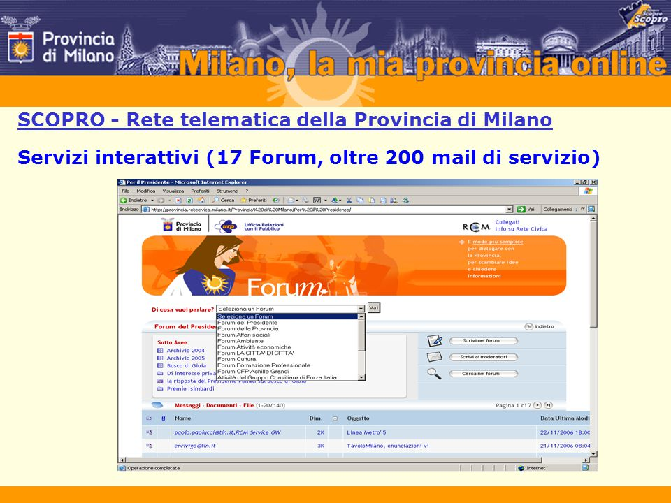 SCOPRO - Rete telematica della Provincia di Milano Servizi interattivi (17 Forum, oltre 200 mail di servizio)