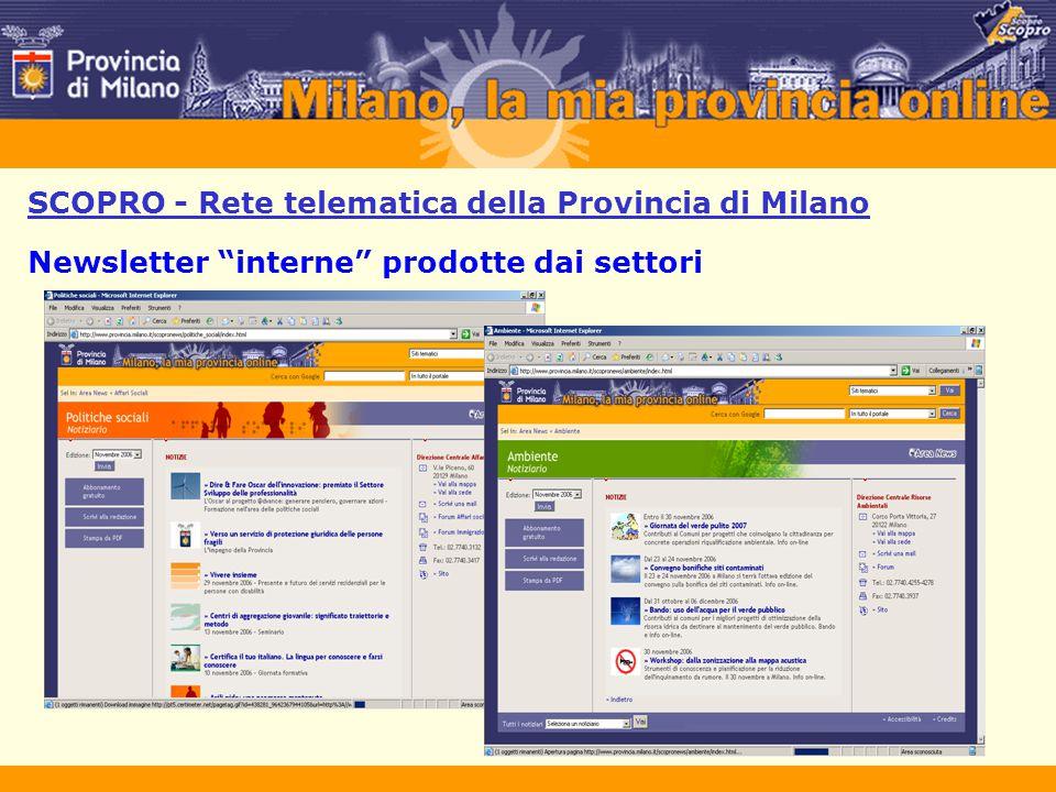 """SCOPRO - Rete telematica della Provincia di Milano Newsletter """"interne"""" prodotte dai settori"""