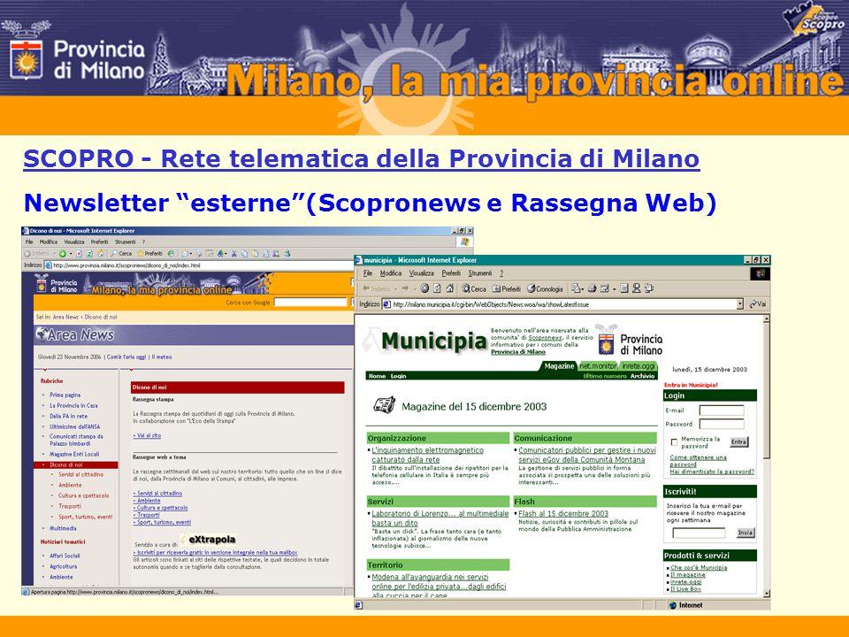 """SCOPRO - Rete telematica della Provincia di Milano Newsletter """"esterne""""(Scopronews e Rassegna Web)"""