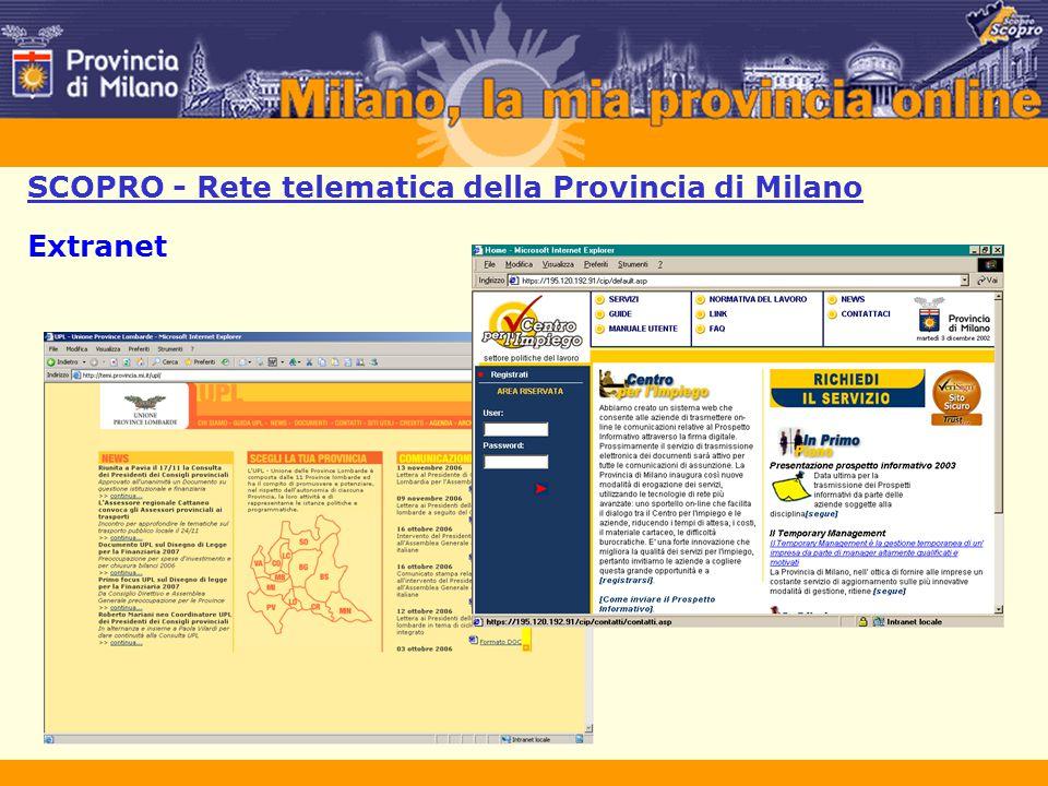 SCOPRO - Rete telematica della Provincia di Milano Extranet