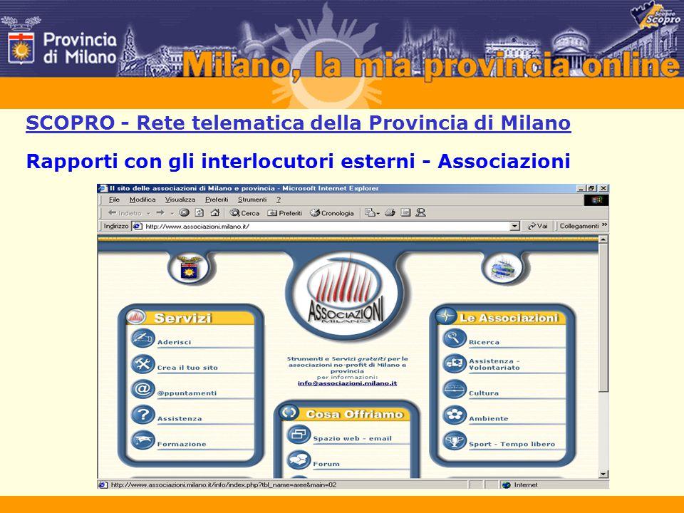SCOPRO - Rete telematica della Provincia di Milano Rapporti con gli interlocutori esterni - Associazioni