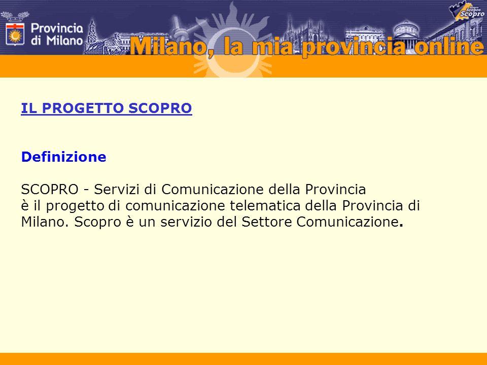 IL PROGETTO SCOPRO Definizione SCOPRO - Servizi di Comunicazione della Provincia è il progetto di comunicazione telematica della Provincia di Milano.