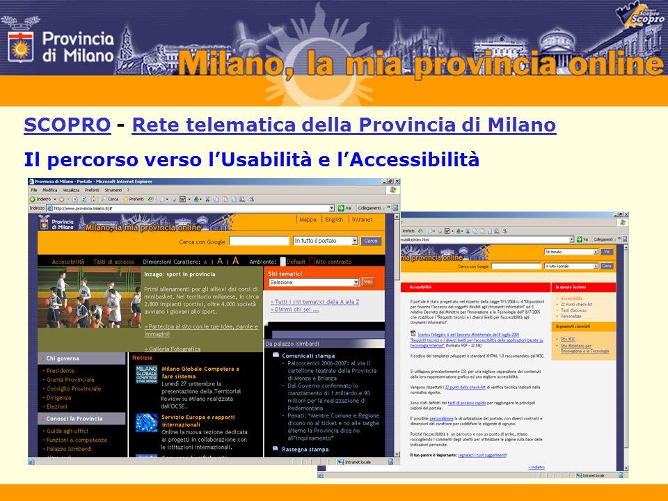 SCOPRO - Rete telematica della Provincia di Milano Il percorso verso l'Usabilità e l'Accessibilità