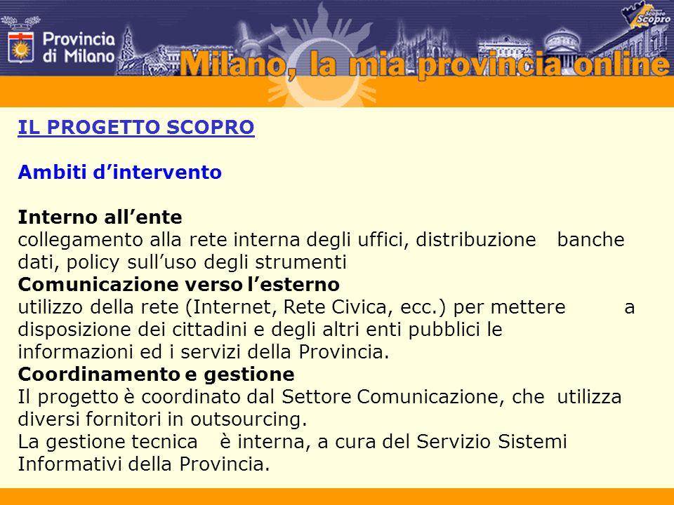 IL PROGETTO SCOPRO Ambiti d'intervento Interno all'ente collegamento alla rete interna degli uffici, distribuzione banche dati, policy sull'uso degli