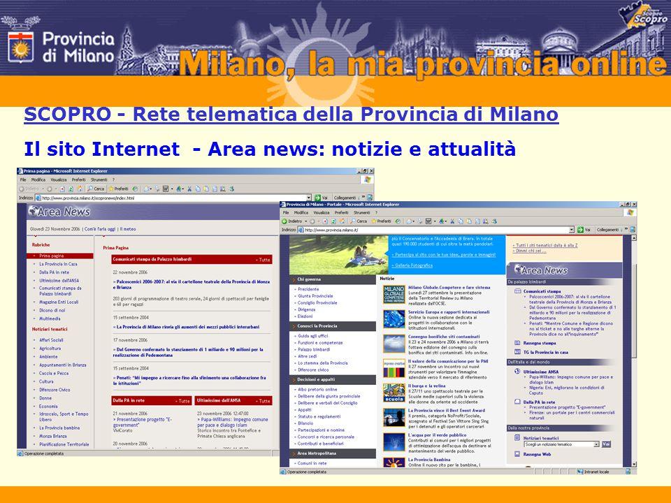 SCOPRO - Rete telematica della Provincia di Milano Prospettive di sviluppo Sviluppo della redazione e degli standard Web  WebTV  Nuovi media e sviluppo tecnologico  Usabilità – Accessibilità – Certificazione
