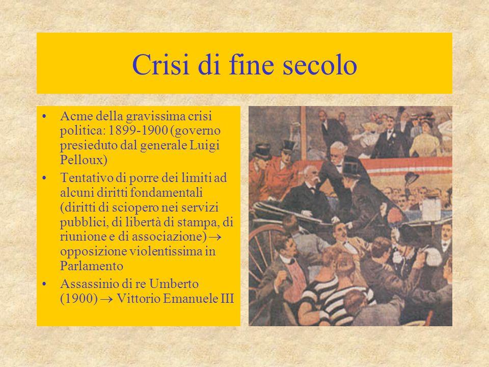 Crisi di fine secolo Acme della gravissima crisi politica: 1899-1900 (governo presieduto dal generale Luigi Pelloux) Tentativo di porre dei limiti ad