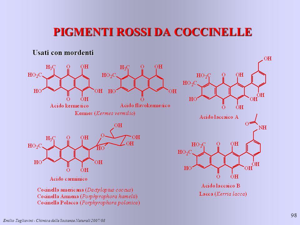 Emilio Tagliavini - Chimica delle Sostanze Naturali 2007/08 98 PIGMENTI ROSSI DA COCCINELLE Usati con mordenti