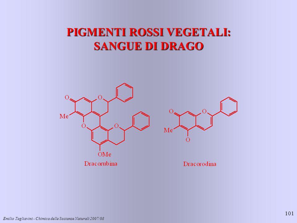 Emilio Tagliavini - Chimica delle Sostanze Naturali 2007/08 101 PIGMENTI ROSSI VEGETALI: SANGUE DI DRAGO