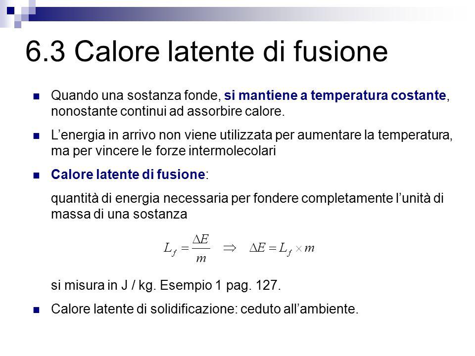 6.2 Fusione e solidificazione 1. a una data pressione, per ogni sostanza la fusione e la solidificazione avvengono a una temperatura ben determinata,