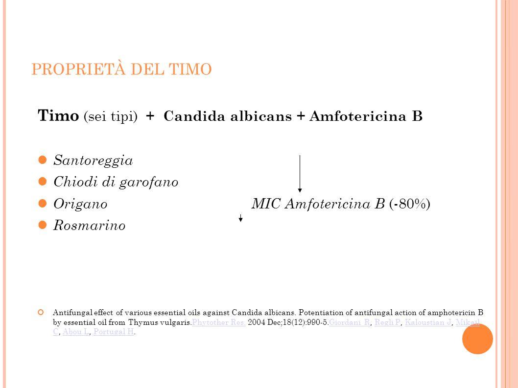 PROPRIETÀ DEL TIMO Timo (sei tipi) + Candida albicans + Amfotericina B Santoreggia Chiodi di garofano Origano MIC Amfotericina B (-80%) Rosmarino Anti