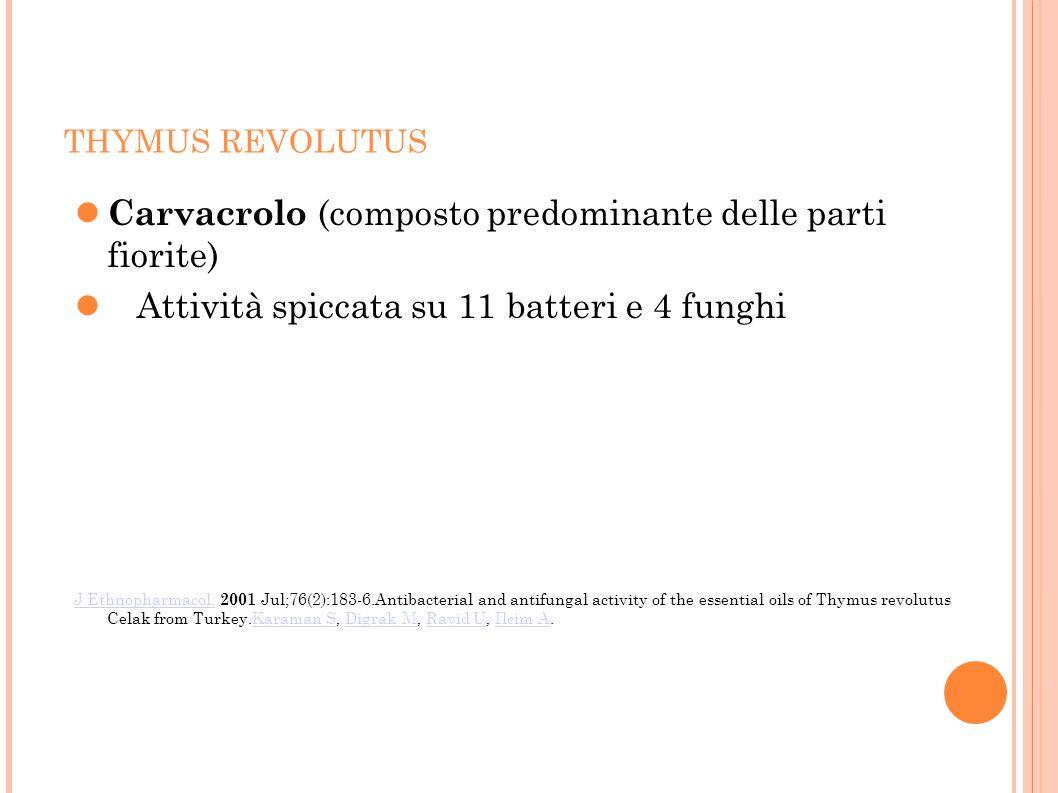 THYMUS REVOLUTUS Carvacrolo (composto predominante delle parti fiorite) Attività spiccata su 11 batteri e 4 funghi J Ethnopharmacol.J Ethnopharmacol.