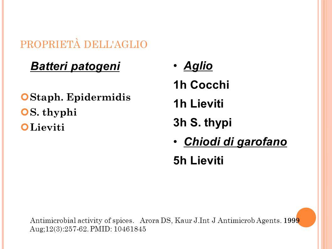 PROPRIETÀ DELL'AGLIO Batteri patogeni Staph. Epidermidis S. thyphi Lieviti Antimicrobial activity of spices. Arora DS, Kaur J.Int J Antimicrob Agents.