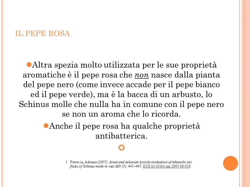 IL PEPE ROSA Altra spezia molto utilizzata per le sue proprietà aromatiche è il pepe rosa che non nasce dalla pianta del pepe nero (come invece accade