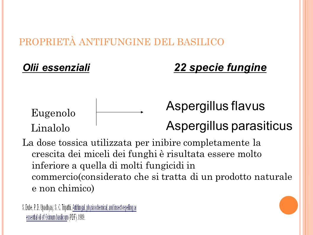 PROPRIETÀ ANTIFUNGINE DEL BASILICO Olii essenziali Eugenolo Linalolo La dose tossica utilizzata per inibire completamente la crescita dei miceli dei f