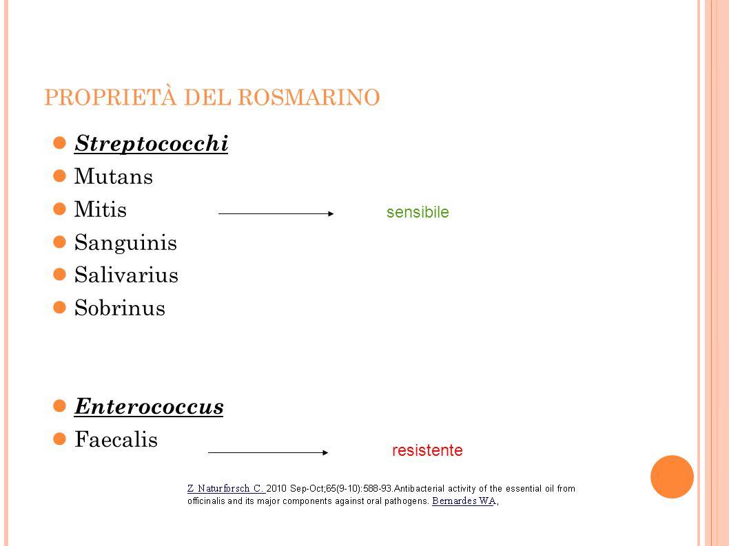 PROPRIETÀ DEL ROSMARINO Streptococchi Mutans Mitis Sanguinis Salivarius Sobrinus Enterococcus Faecalis sensibile resistente